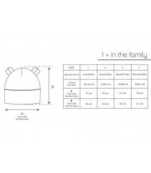 1+ in the Family ABEL Bonnet w/ Ears 1more  in the Family ABEL Bonnet sizing