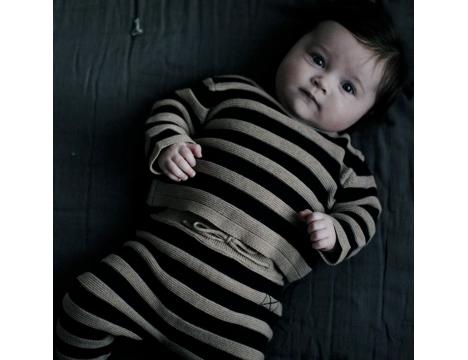 Mini Sibling Knit Reversible Sweater-Cardigan STRIPES