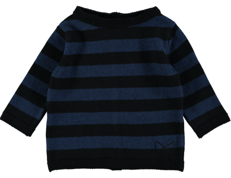 Mini Sibling Knit Reversible Sweater-Cardigan STRIPES