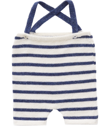 Oeuf NYC Suspenders Knit Shorts STRIPES Wool Oeuf NYC ANIMAL FOOTIE Jumper BLUE STRIPES