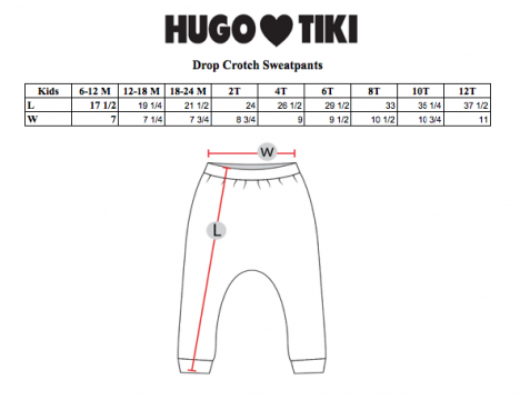 Hugo Loves Tiki Drop Crotch Sweat Pants HOT DOGS