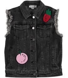 Stella McCartney Kids FRUIT BADGE Denim Gilet Stella McCartney Kids FRUIT BADGE Denim Gilet