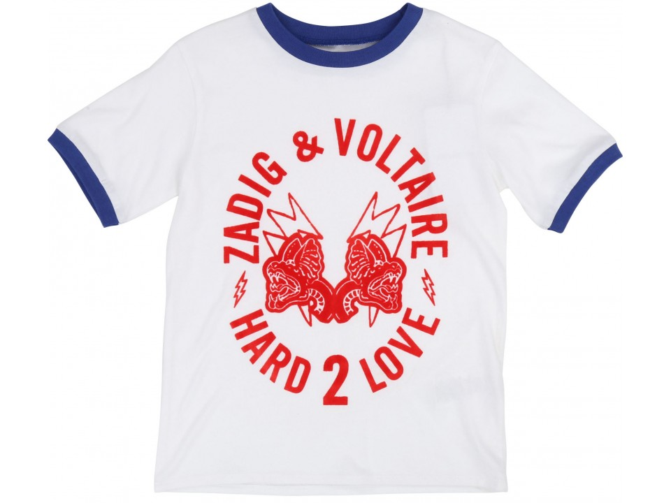 Zadig & Voltaire Kids Tee Shirt Kita HARD 2 LOVE - Orange Mayonna