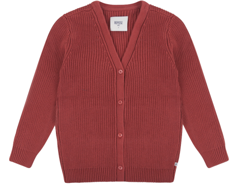 Repose AMS Knitted V-neck Cardigan ROSE-BROWN